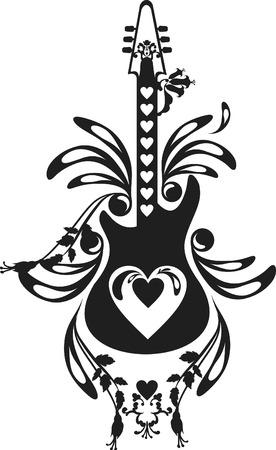 Romántica y expresiva guitarra eléctrica. Uno Color.  Foto de archivo - 3214043