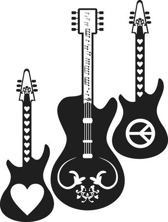 Romántica y expresiva guitarra eléctrica establecidos.  Foto de archivo - 3214040