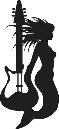 mythologie: Retro Meerjungfrau mit einer E-Gitarre Stil Abbildung. Einer Farbe.  Illustration