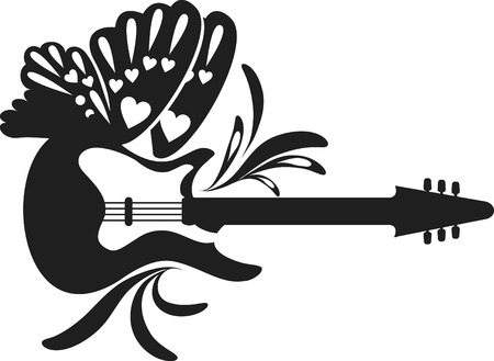 logo music: Retro styled guitar with wings. One color. Illustration
