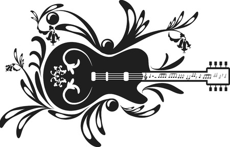 logo music:  and expressive electric guitar. One Color.