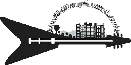 logo music: Conceptual illustration of a Rock and Roll city. One Color.