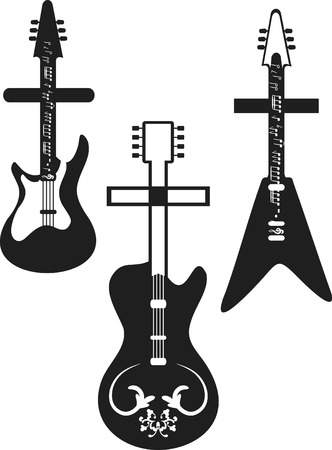 Set of three Religious rock guitars. Notes are a separate group.