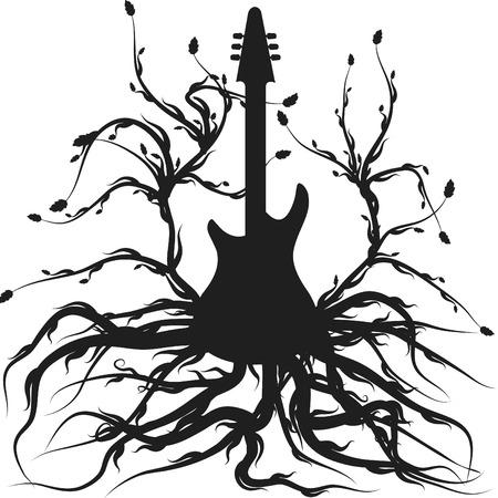L'albero della vita musicale illustrata con un solo colore. Archivio Fotografico - 3214047