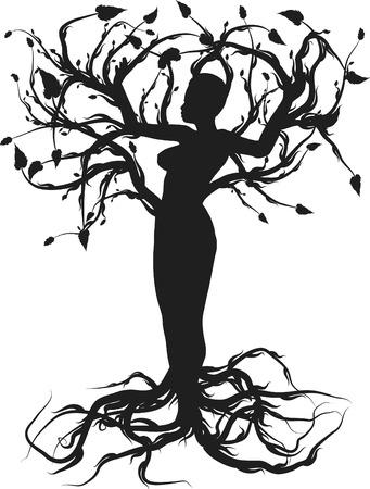 Konzeptionelle Darstellung des Baum des Lebens. Einer Farbe.