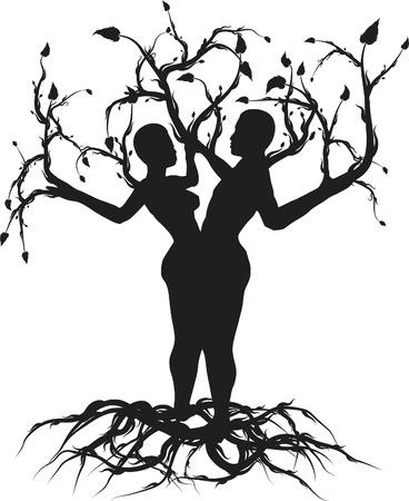 pagan: Illustration conceptuelle de l'arbre de vie. Une seule couleur.  Illustration
