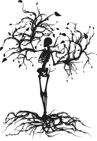 mortalidad: Ilustraci�n conceptual del �rbol de la vida. Uno Color.  Vectores