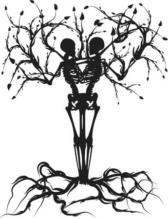 leven en dood: Conceptuele illustratie van de boom van het leven. Een Color.