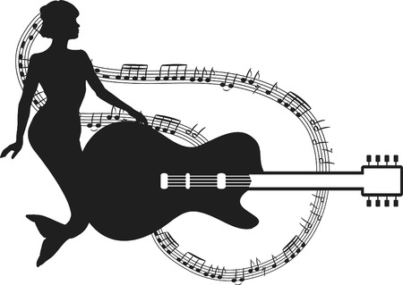 Retro mermaid with an electric guitar styled illustration. One Color. Vector