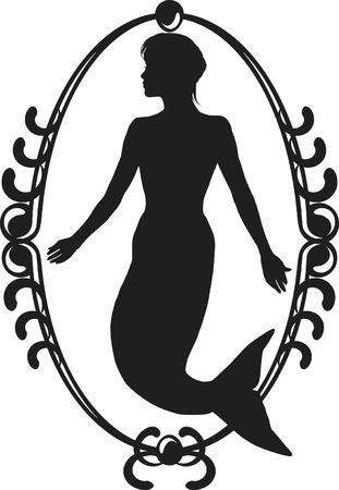 Retro stylized illustration of a Mermaid  Illusztráció
