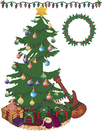 Fun decorated Christmas tree with lights and a wreath. Vector
