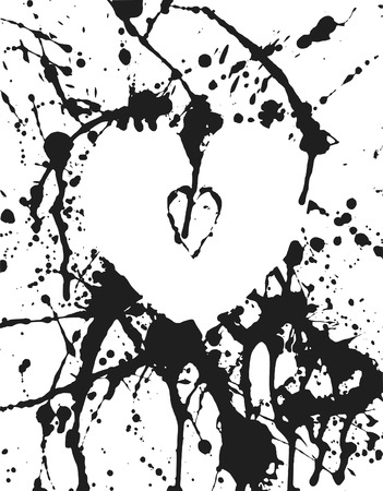 grunge: Thick paint spatter hearts and drips made from real paint. File contains no gradients.