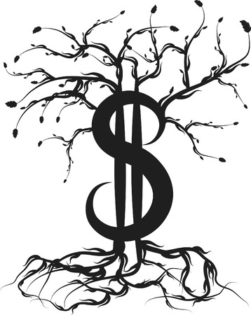 Money with roots and healthy growth. One color. Vector
