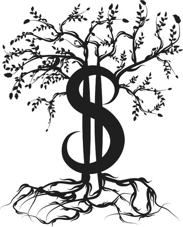 Money with roots and healthy growth. One color. Illusztráció