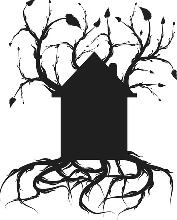 Organic Sturdy home with roots and healthy growth. One color. Vector