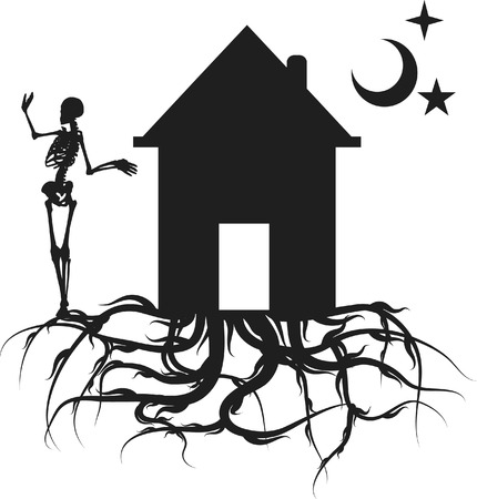 Home with roots and skeleton. One color. Vector