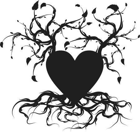 dessin coeur: Coups de coeur organiques avec des racines et des feuilles de plus en plus.  Illustration