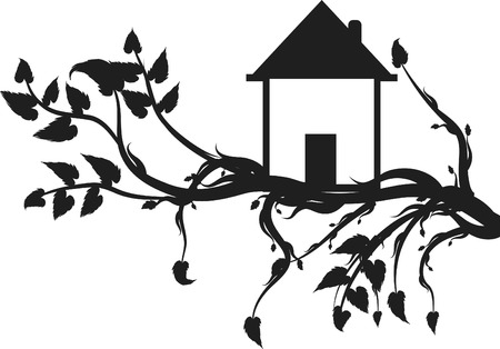 Organic House out on a limb. One color. Vector