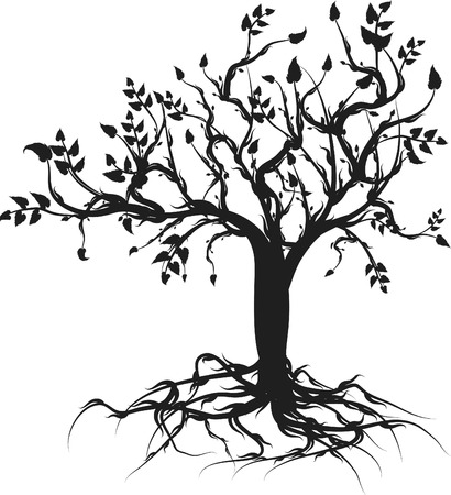 synthesis: Conceptual illustration of the tree of life. One Color.