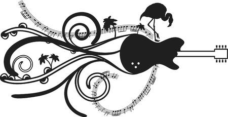 Tropical and expressive electric guitar with flamingo and palm trees. Ilustração