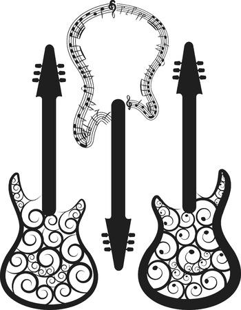 表現力豊かなエレキギター セット。  イラスト・ベクター素材