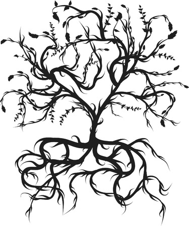druid: Conceptual illustration of the tree of life. One Color.