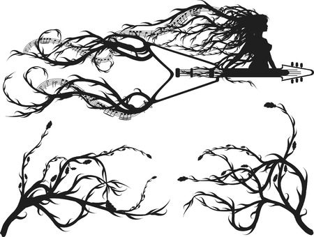 Electric guitar border with roots and leaves, plus two design elements. One color.