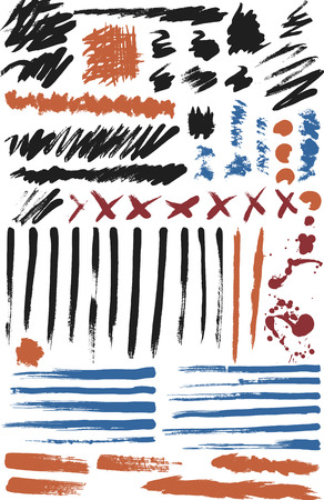 Natural Brush brushes created from real ink with different strokes some dry others wet. File contains no gradients. Ilustracja