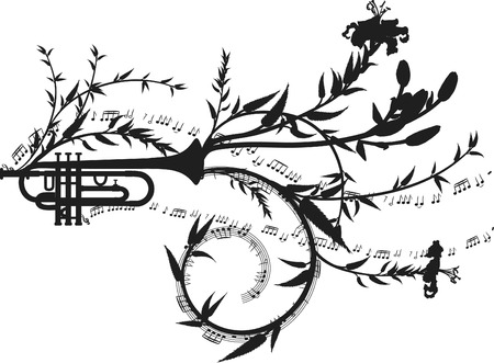 Trumpet with expressive and natural strokes. One color.