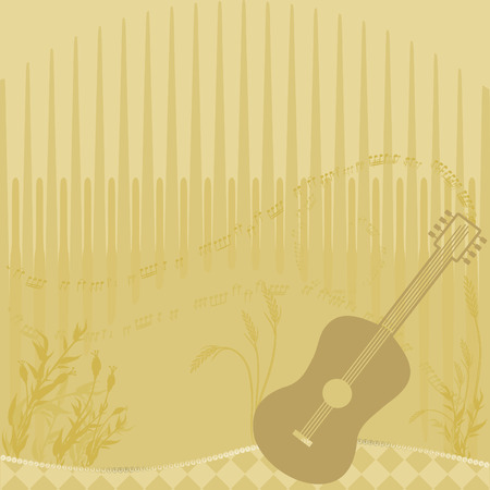 Country music background with wheat and a plaid landscape, no gradients.