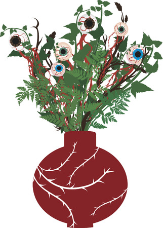 demented: Vase of creepy eyeballs in a bouquet. No gradients.