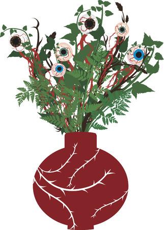 Vase of creepy eyeballs in a bouquet. No gradients.