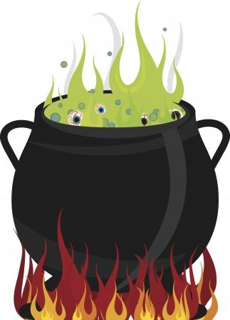 Eyeballs boiling in a hot cauldron. No gradients. Stock Vector - 3328358