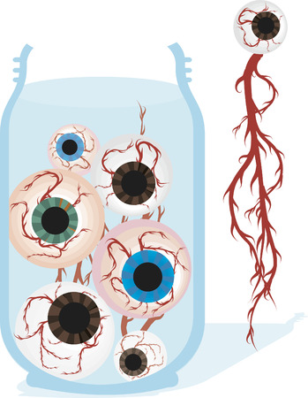 demented: Jar of spooky eyeballs and veins. No gradients.
