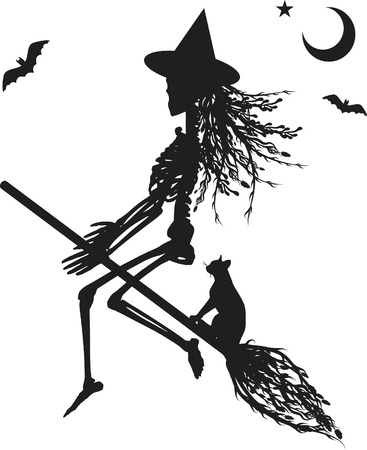 Witch skeleton flying on a broom. One color.