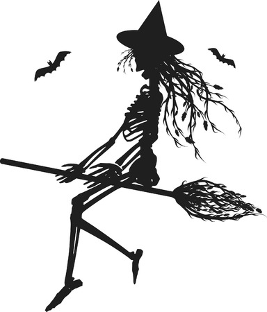Witch skeleton flying on a broom. One color. Stock Vector - 3328354