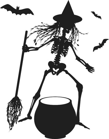 Witch skeleton with cauldron and bats. One color.