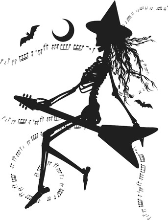 electric broom: Witch flying on an electric guitar. One color. Illustration
