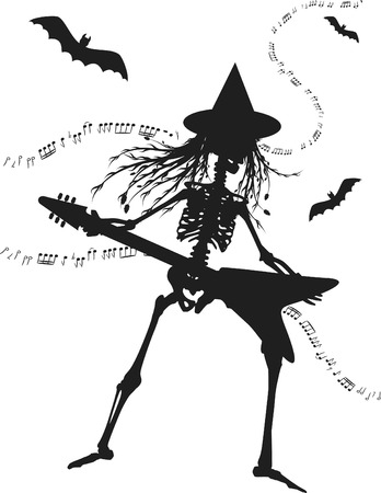 Witch skeleton playing an electric guitar. One color. Illustration