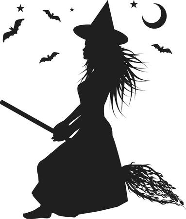 Fun karakter illustratie van een heks met Halloween achtergrond.