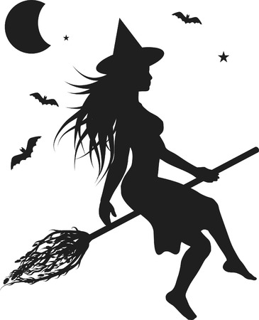 Fun character illustration of a witch with Halloween background.