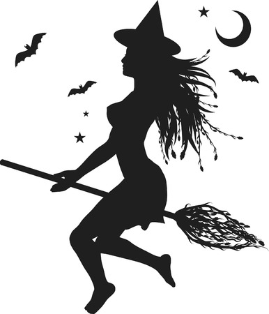 psychic: Fun character illustration of a witch with Halloween background.
