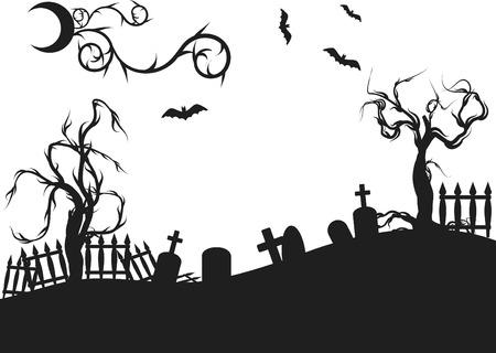 the cemetery: Halloween graveyard illustration. One color. Illustration