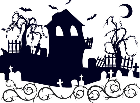 solstice: Halloween haunted house with graveyard illustration. One color.