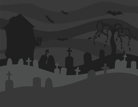 Halloween haunted house with graveyard illustration. No Gradients. Illustration