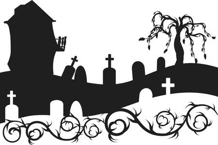 Halloween Haunted House mit Friedhof Abbildung. Eine Farbe.  Standard-Bild - 3357332