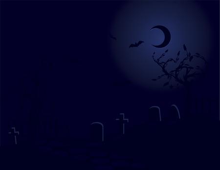 Halloween graveyard illustration.  向量圖像
