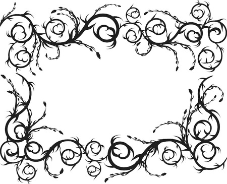 pagan: Overgrown wild roots and leaves frame. One Color.