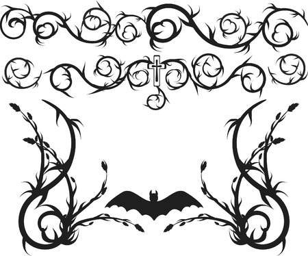 Overgrown wild roots and leaves design elements. One Color.