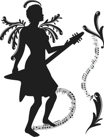 Woman rocking her electric guitar with expressive frame, one color.
